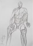 Adam seated by Juliet Eardley, Drawing, Graphite on paper