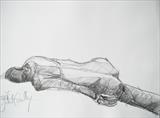 Ben resting: Back by Juliet Eardley, Drawing, Graphite on paper