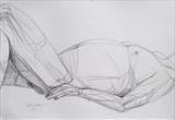 Jack's sleeping by Juliet Eardley, Drawing, Graphite on paper
