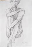Louise being pensive by Juliet Eardley, Drawing, Graphite on Paper