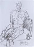 Sat on chair by Juliet Eardley, Drawing, Graphite on paper