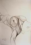 The Falling by Juliet Eardley, Drawing, Graphite on Paper